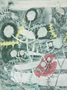 「アザミ」2016年、紙に顔料、色鉛筆、48x36cm